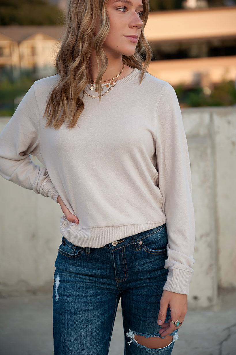 Super-soft Contrast Side Sweater in Pale Grey - Duckthreads