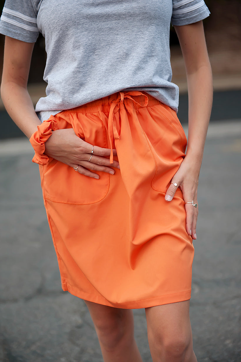 "DT BREEZE Sporty Skirt in ""Mountain Crest"" orange with FREE matching scrunchie! - Duckthreads"