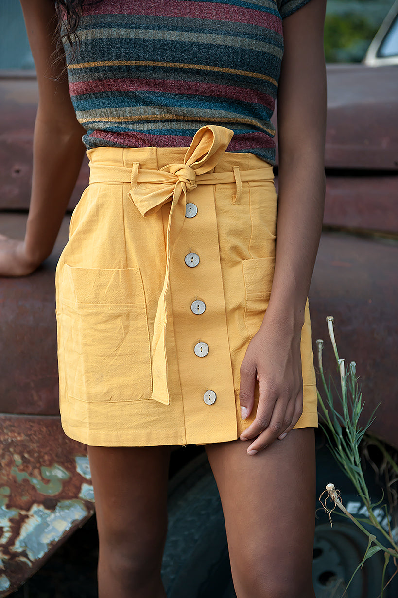 Coconut button Solid Woven Skirt With Belt in Mustard - Duckthreads