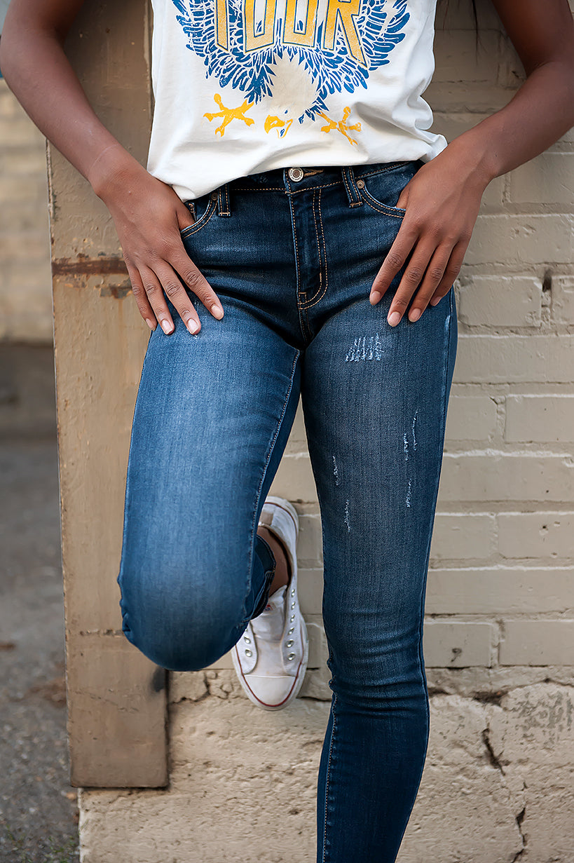 Kancan Lightly Distressed Indigo Jeans - Duckthreads