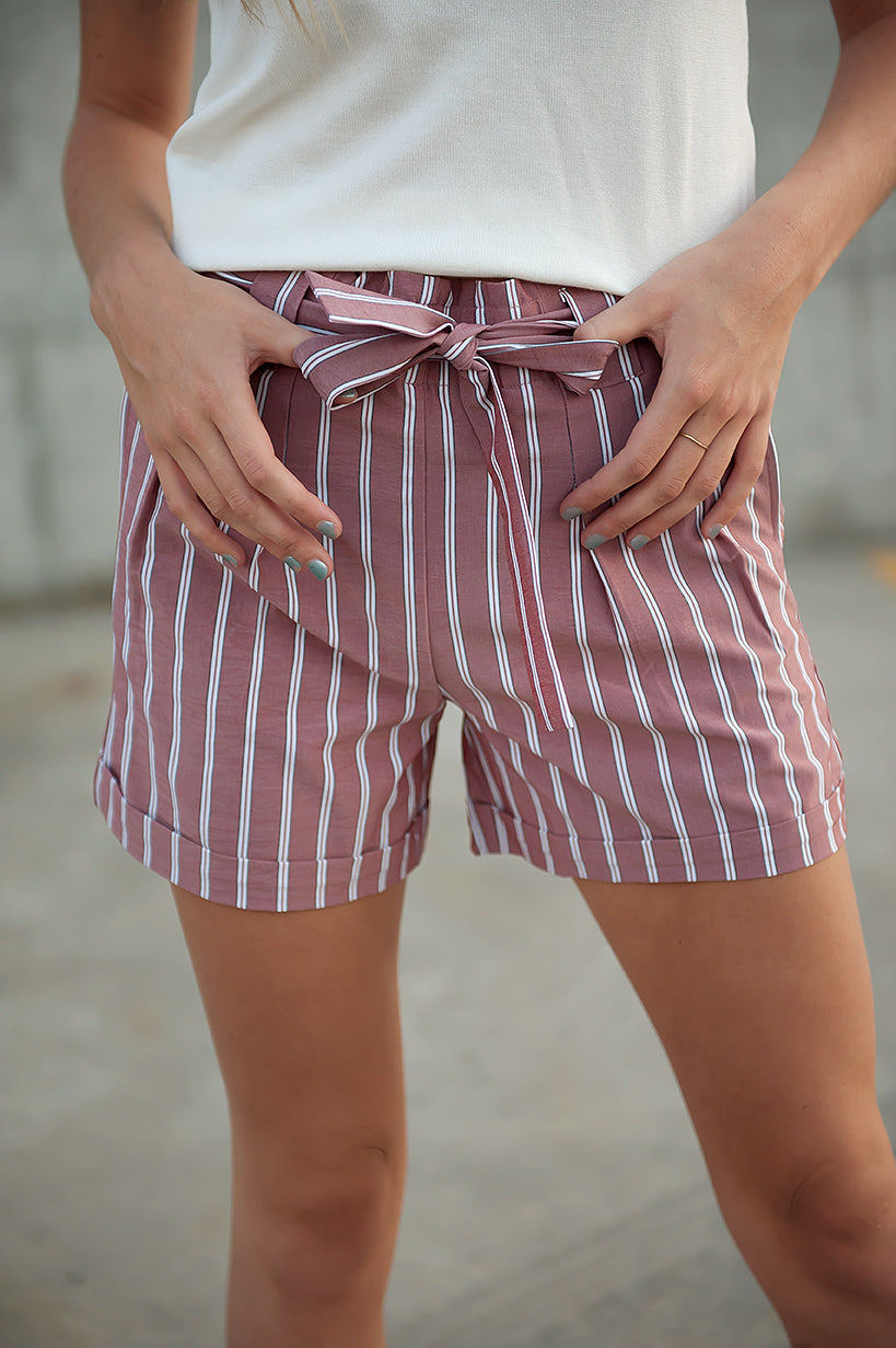 DT Avery sash shorts in Red Earth