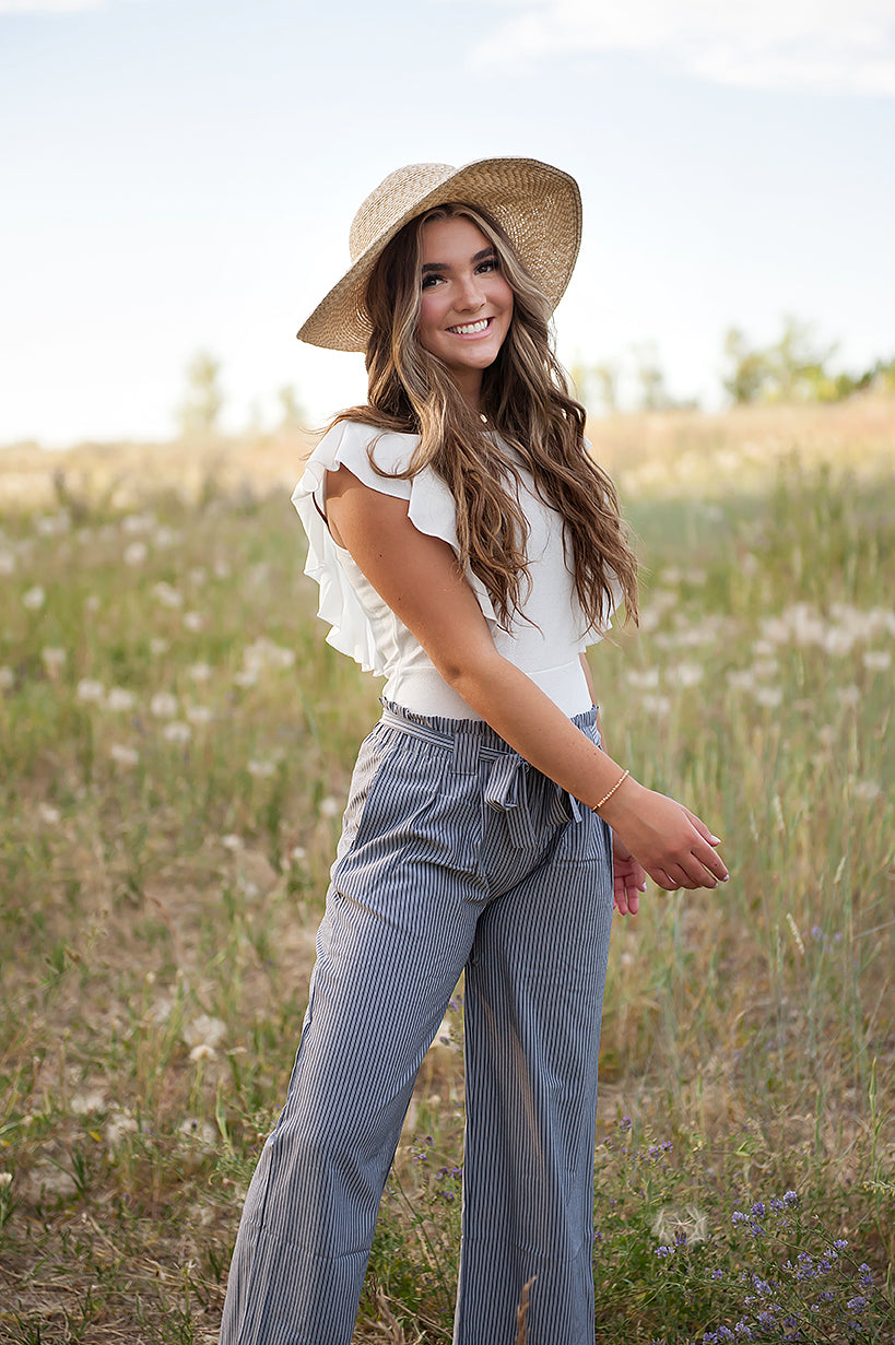 DT Izzy Belted Striped Palazzo pants - grey and white - Duckthreads