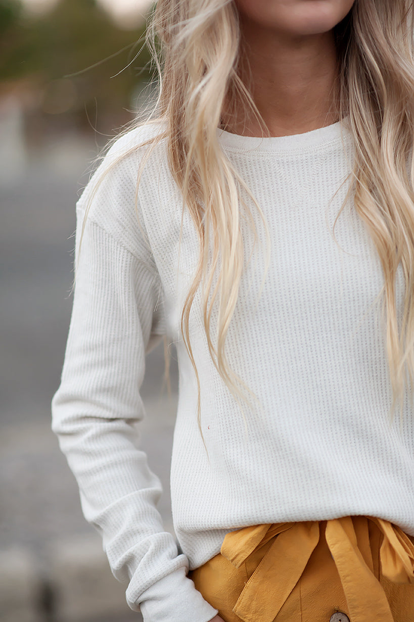 Waffle Knit Crew Neck Long Sleeve Thermal Tee in Eggshell