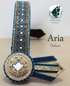 """Aria"" 14.25"" teal and gold 1.25"" browband"