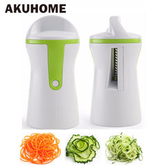 2 Knife Edge Fruit Vegetable Slicer Spiralizer espiral Shredders descascador cortador Cenoura Shred Grater Gadgets Kitchen Panelas AKUHOME