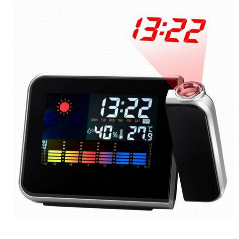 Previsão do tempo tela LCD Snooze Projection Alarm Relógio Calendário Digital Despertador Projector Color Display LED Backlight