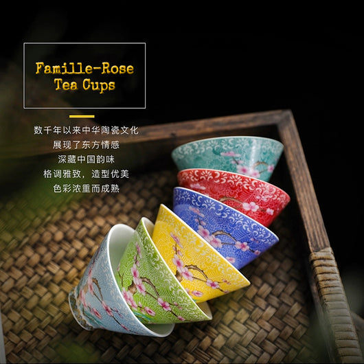Famille-Rose Chinese tea cups