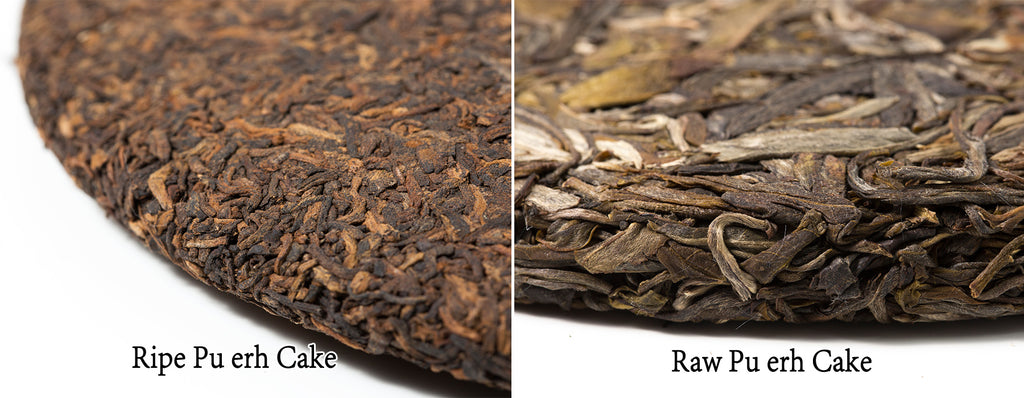 ripe pu erh tea cake vs raw pu erh tea cake