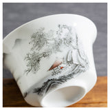 Gaiwan bowl large white teapot cliff tree 180ml