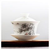 Gaiwan large white teapot cliff tree 180ml