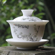 Gaiwan teapot with Japanese apricot flower design