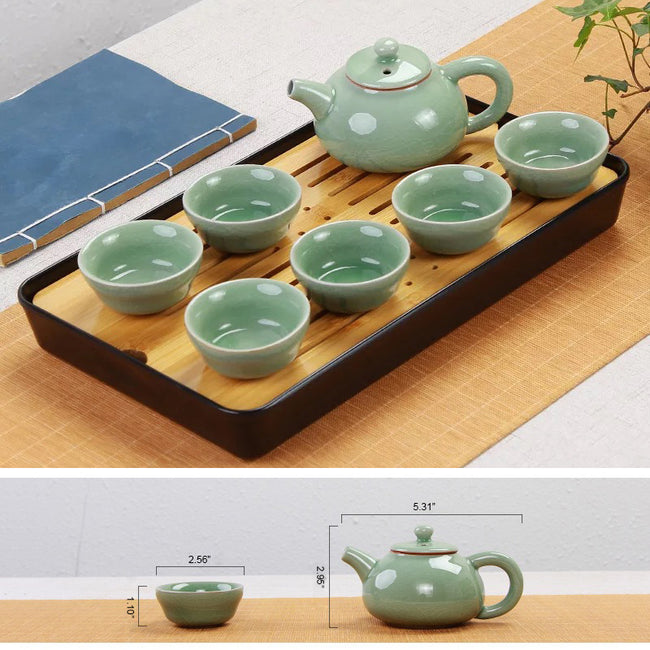 Ge-Ware Teapot Set with Bamboo Tea Tray