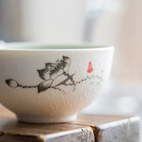 beautiful embossed chinese tea cup