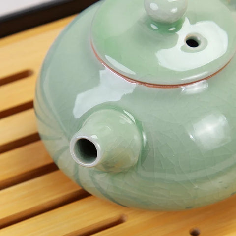 ceramic tea pot green