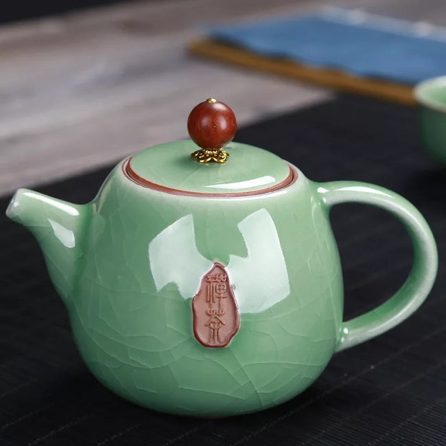 Crackle Glaze Teapot Set Ge Kiln Seal Embossed