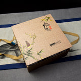famille rose pu erh tea container box