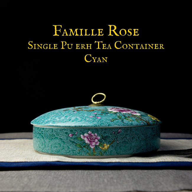 famille rose single pu erh tea container Cyan