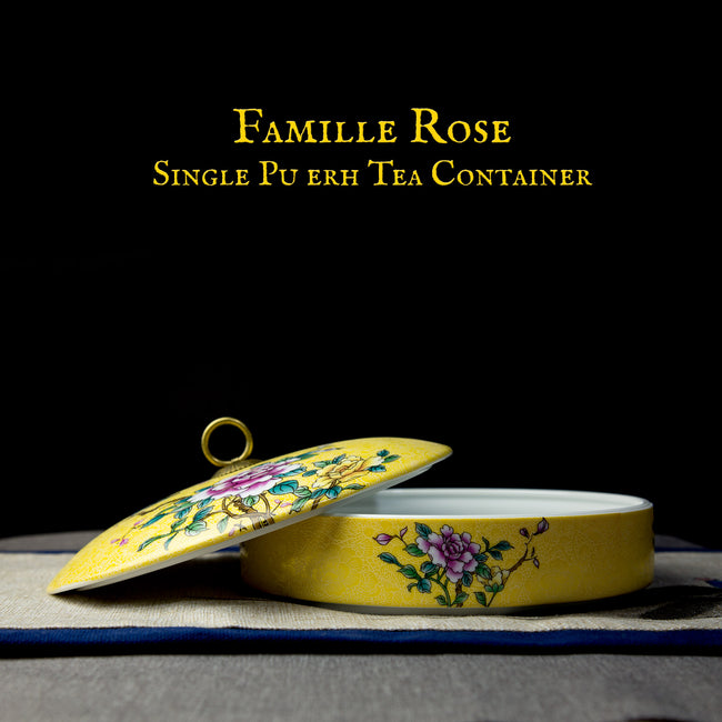 famille rose single pu erh tea container with lid