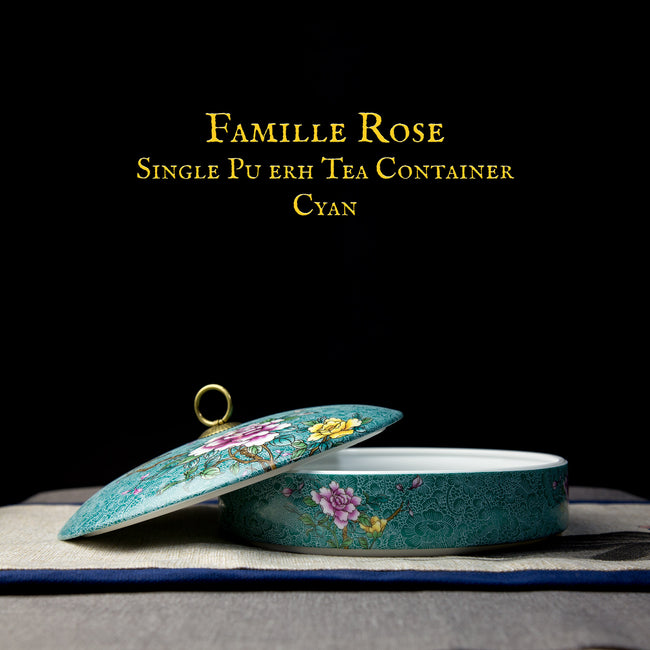 famille rose single pu erh tea container with lid cyan