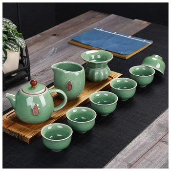 green crackle glaze tea set