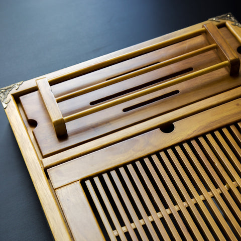 large gongfu tea tray with cup rack