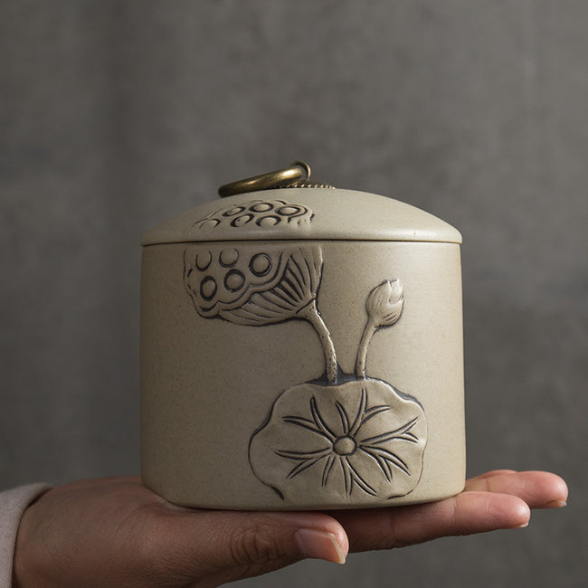 medium ceramic tea caddy