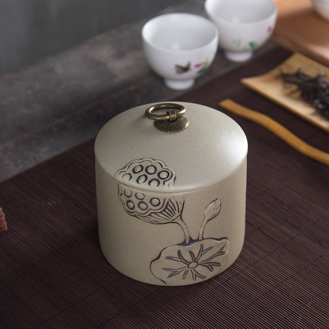 medium ceramic tea container