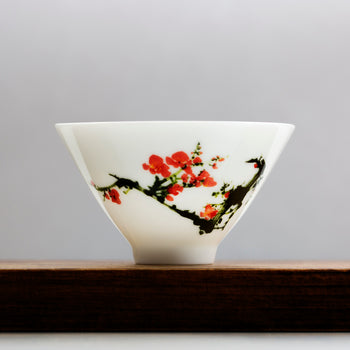 porcelain gongfu tea cup plum flower