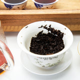 steeped Menghai flavor ripe pu erh tea leaves