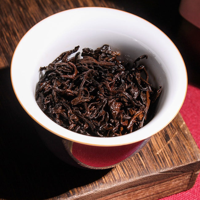 steeped loose pu erh tea leaves
