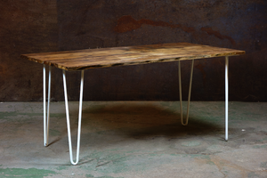 160 White Hairpin Dining Table