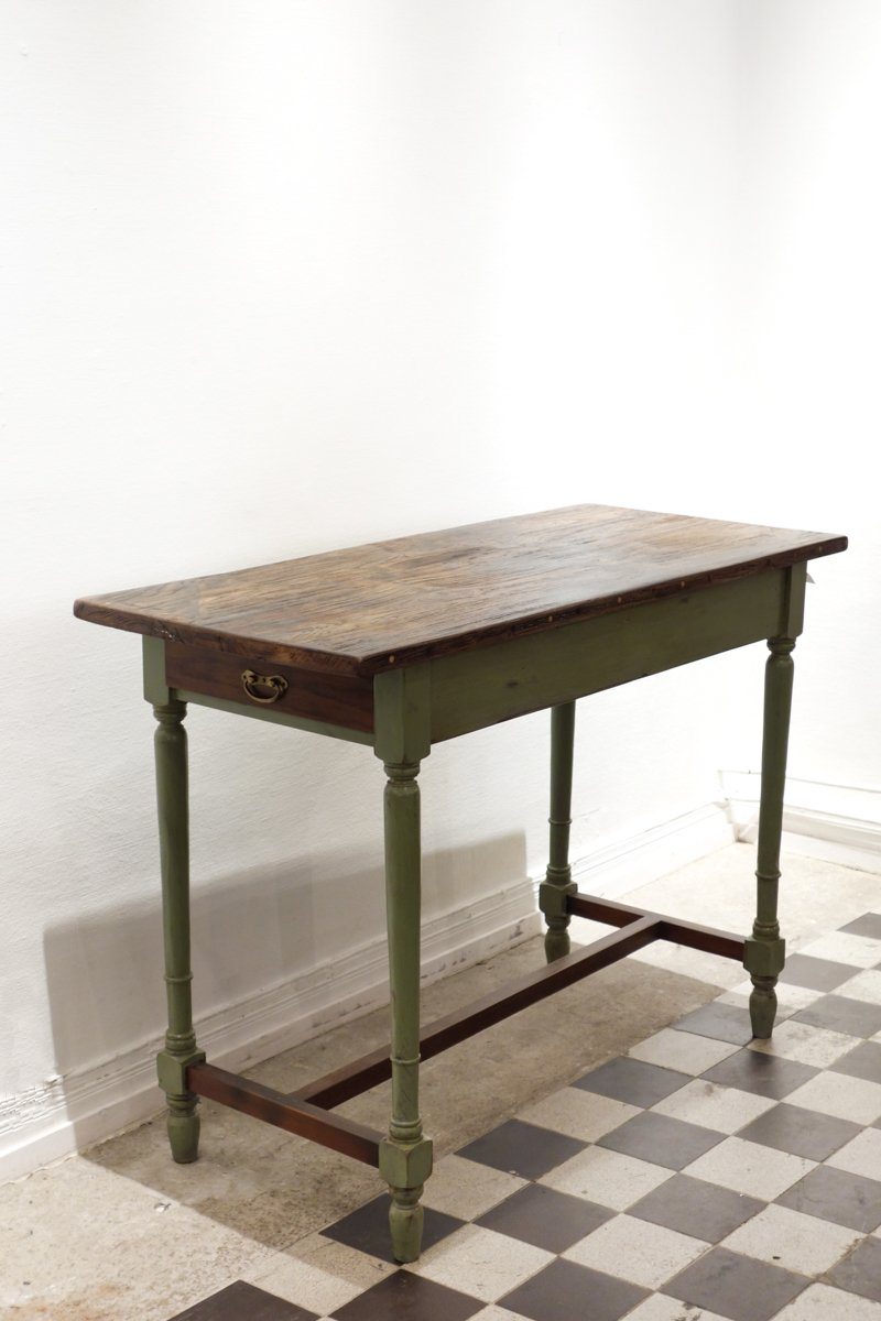 Olive Green Island Table/ Two Drawer