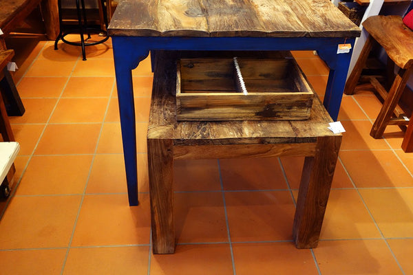 Blue leg dining table