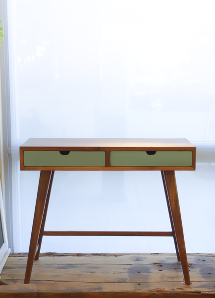 Console Desk with Mint Drawers