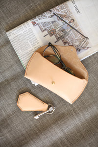 Hand-stitched large leather glasses case