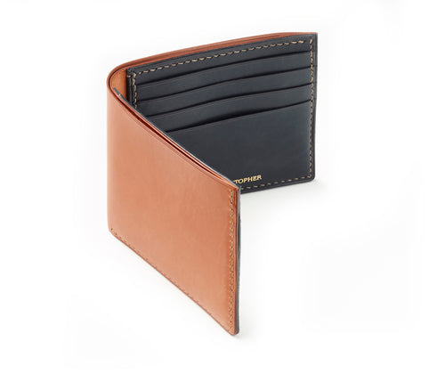 Hand-stitched Bi-fold mens leather wallet in Vegetable Tanned leather