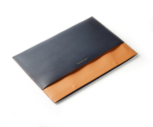 Vegetable tanned Calf skin document holder, hand-stitched, made to order