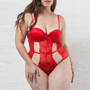 See Me Red Cut Out Lace Teddy