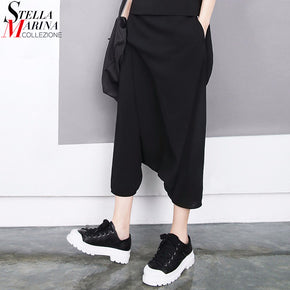 Black Harem Pants Elastic Casual