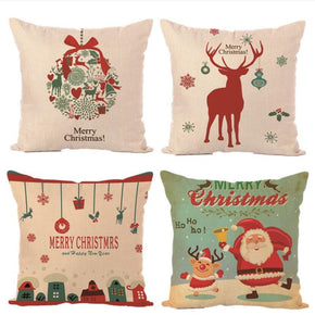 Christmas Decoration Merry Christmas Letters Square Linen Kerst Pillowcase Santa Elk Bell Pillow Cover for Home Sofa Xmas Decor
