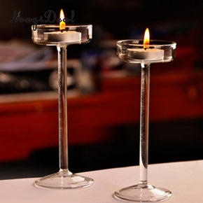 Set 2pcs Clear Glass Pillar Candle Holders