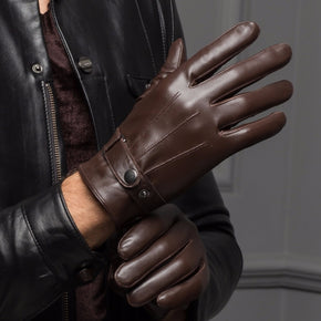 Leather Short Thin/Thick Black/Brown Touched Screen Glove Man