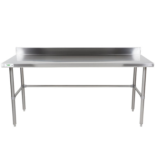 Terrific 16 Gauge 304 Stainless Steel Commercial Open Base Work Table With 4 Backsplash 30 Deep X 72 Wide Andrewgaddart Wooden Chair Designs For Living Room Andrewgaddartcom