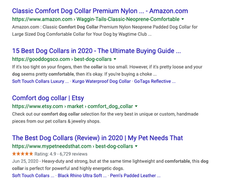 Google Search result for comfortable dog collars