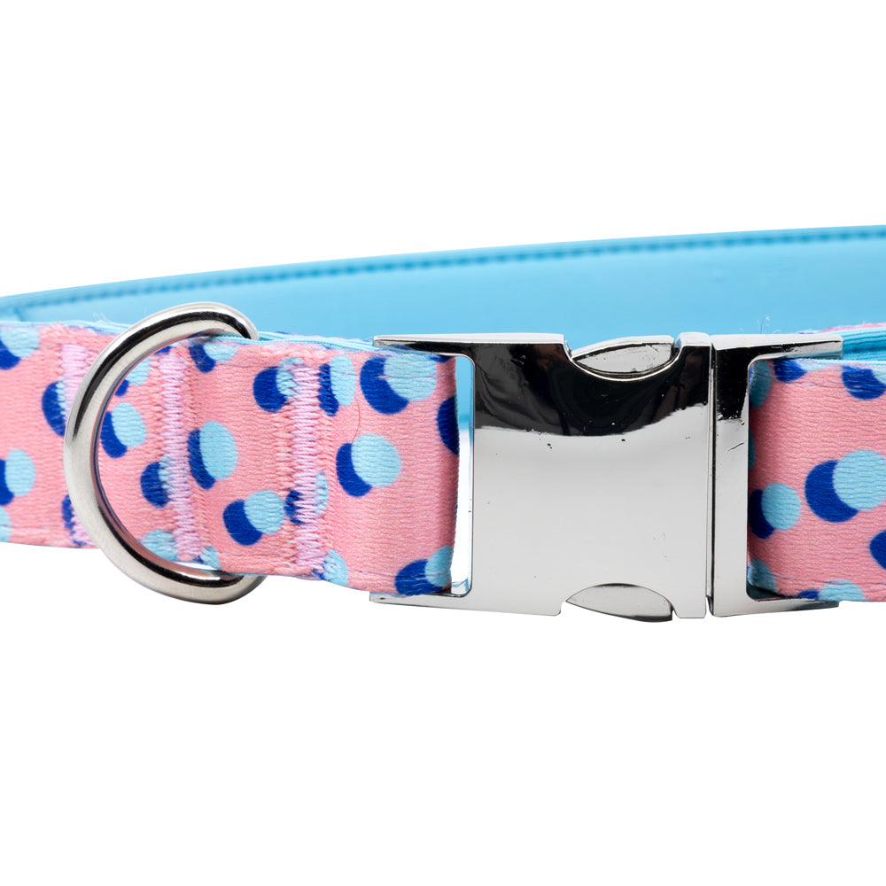 Kawaii Pinku - Pink - Padded Dog Collar - Monro Pets - Royal Blue and Light Blue