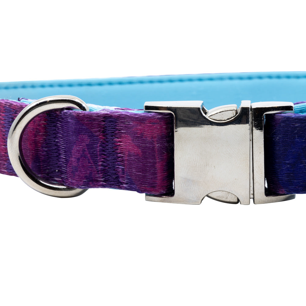 Metric Flora - Purple - Padded Dog Collar - Monro Pets - Light Blue - Metal Buckle