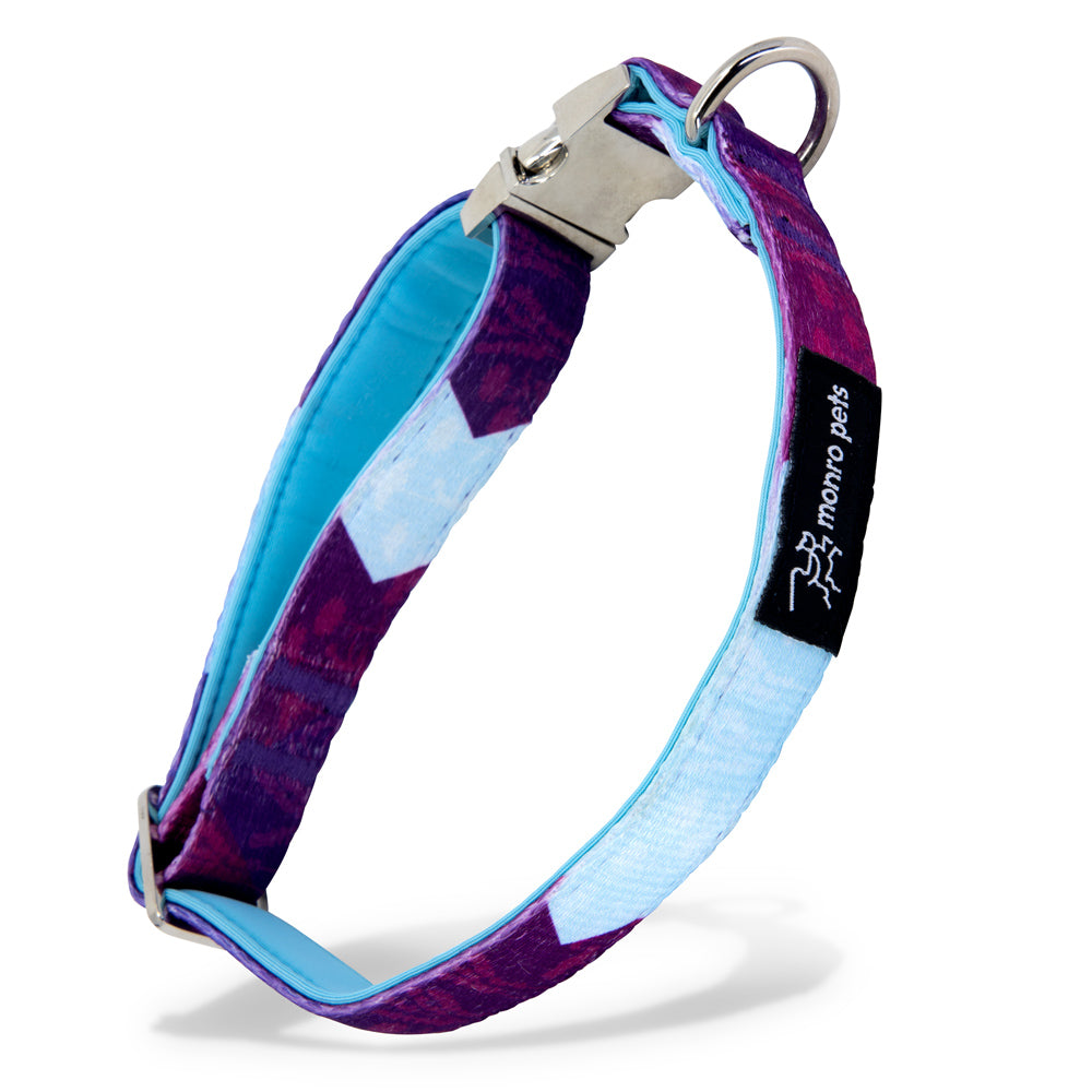 Metric Flora - Purple - Padded Dog Collar - Monro Pets - Light Blue