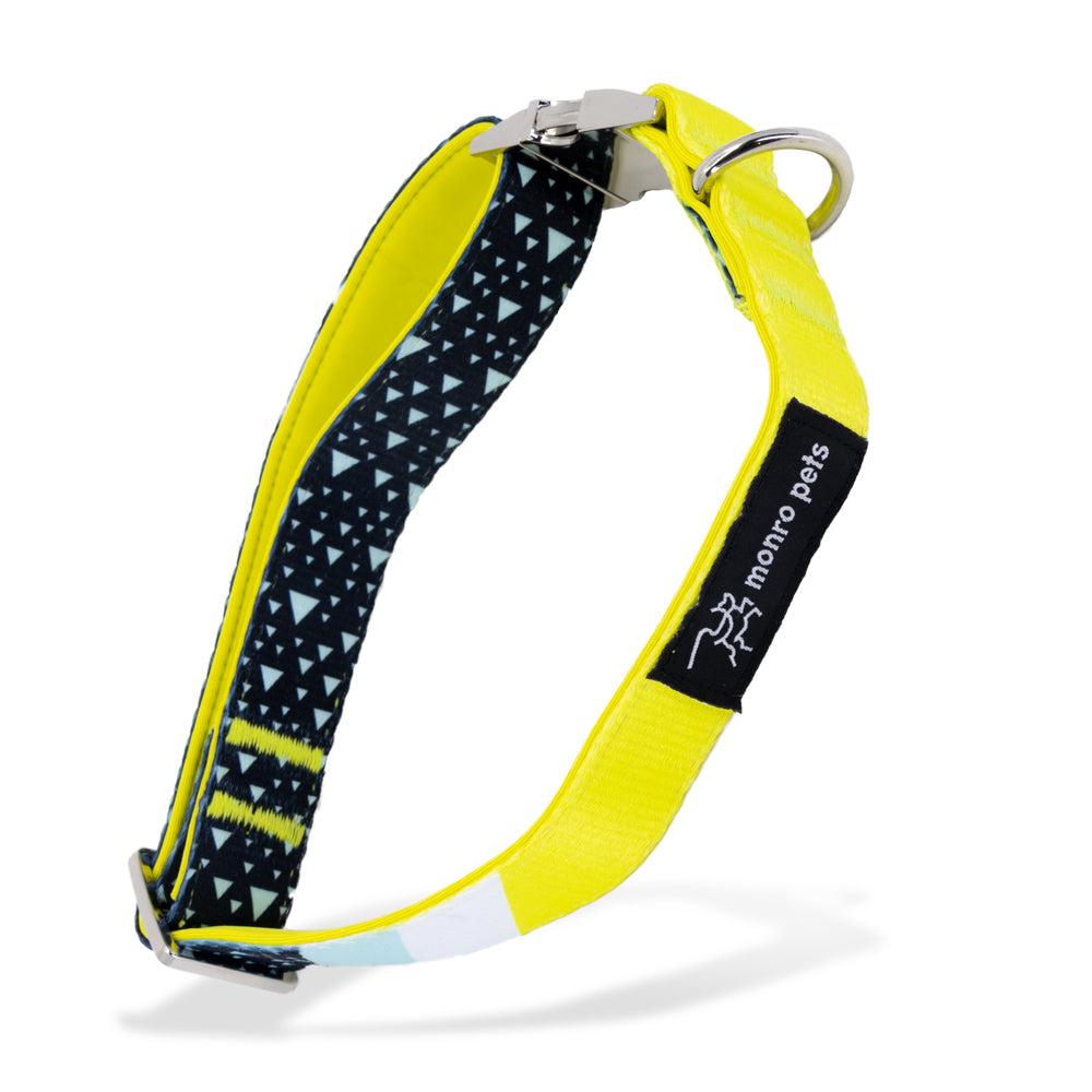 Asteroid Blues - Blue - Padded Dog Collar - Monro Pets - Navy Blue and Yellow