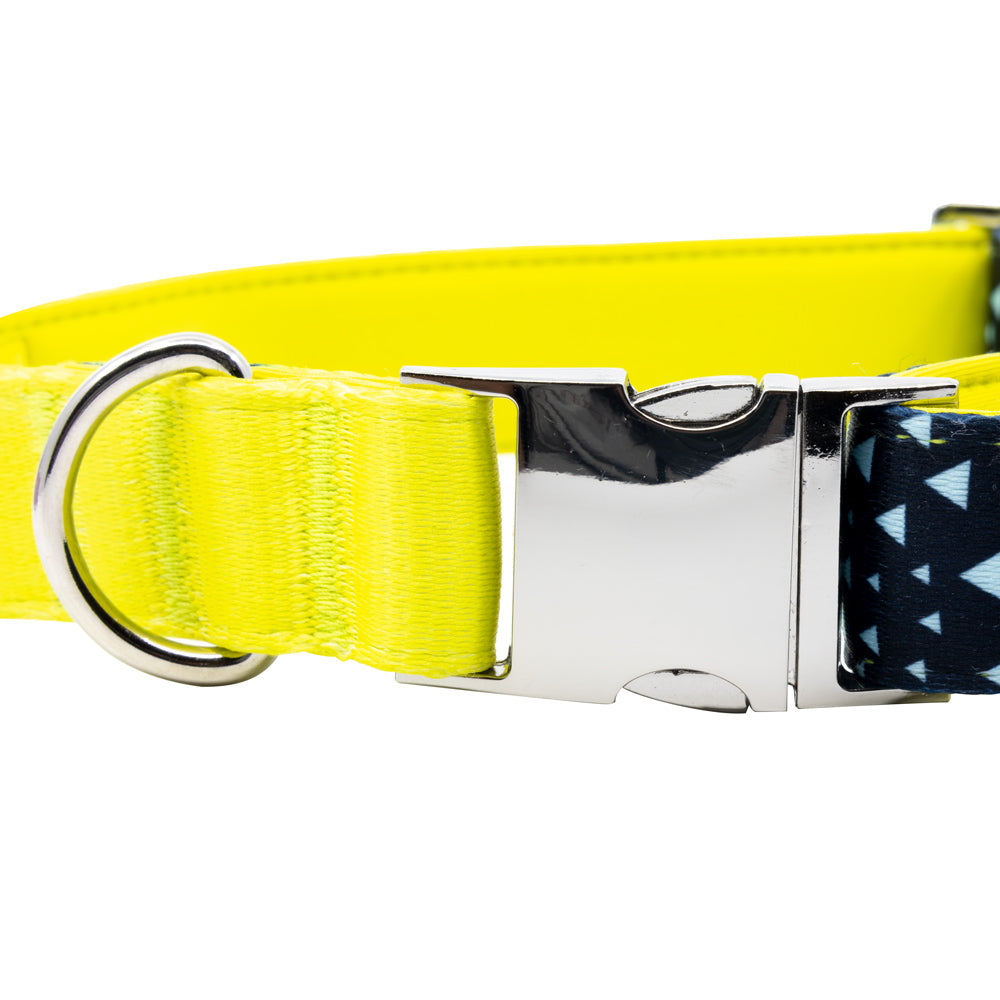 Asteroid Blues - Blue - Padded Dog Collar - Monro Pets - Navy Blue and Yellow - Metal Buckle and D-Ring