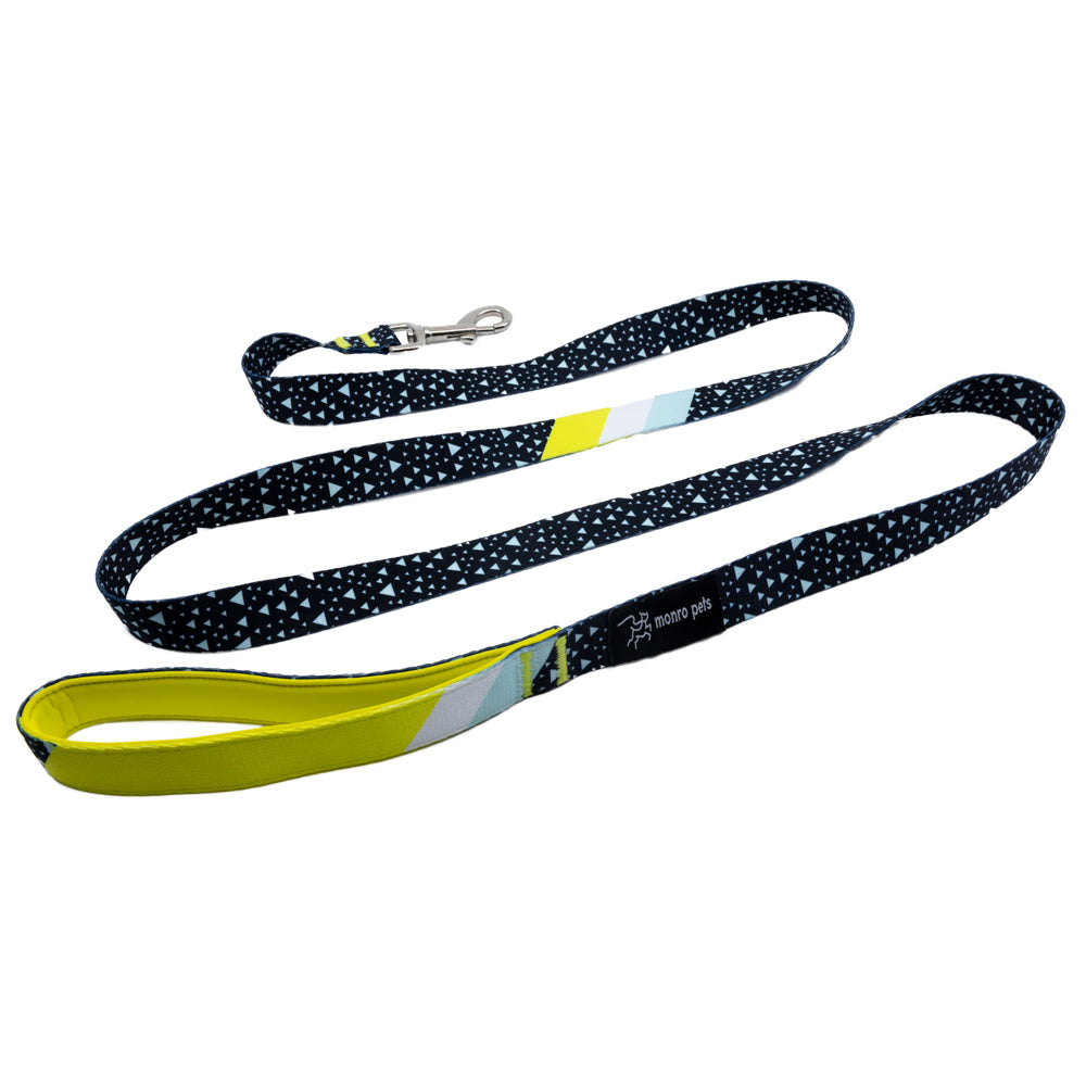 Asteroid Blues - Blue - Padded Dog Leash - Monro Pets - Navy Blue and Yellow